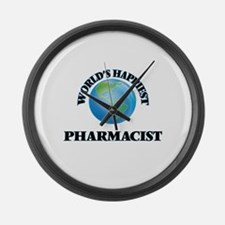 World's Happiest Pharmacist Large Wall Clock