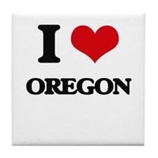I Love Oregon Tile Coaster