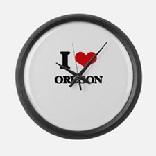 I Love Oregon Large Wall Clock