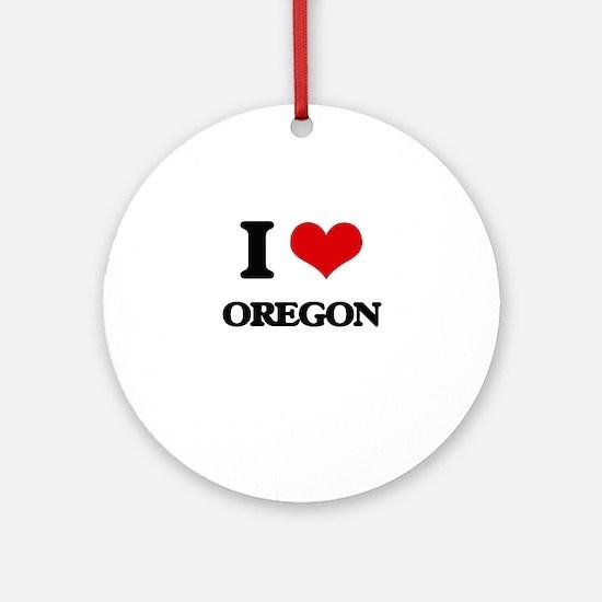 I Love Oregon Ornament (Round)