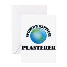 World's Happiest Plasterer Greeting Cards