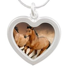 running horses Silver Heart Necklace
