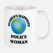 World's Happiest Police Woman Mugs