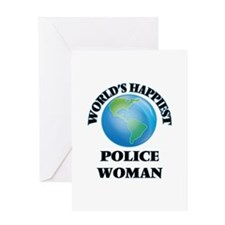 World's Happiest Police Woman Greeting Cards