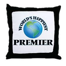 World's Happiest Premier Throw Pillow