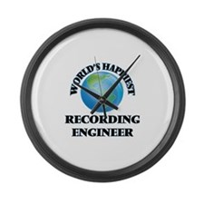 World's Happiest Recording Engine Large Wall Clock