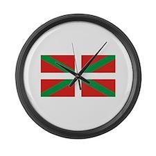 The Ikurriña, Basque flag Large Wall Clock