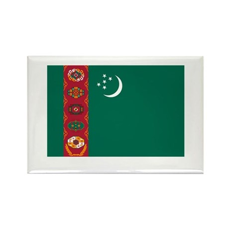 Turkmenistan Flag Rectangle Magnet (10 pack)
