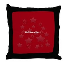 Silver Glossy Stars Pattern Gray Red Throw Pillow