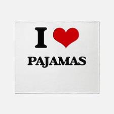 I Love Pajamas Throw Blanket