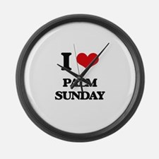 I Love Palm Sunday Large Wall Clock