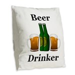 Beer Drinker Burlap Throw Pillow