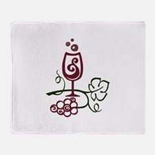 WINE GLASS AND GRAPES Throw Blanket