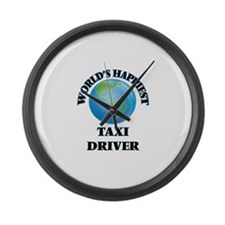 World's Happiest Taxi Driver Large Wall Clock