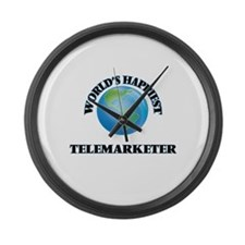 World's Happiest Telemarketer Large Wall Clock