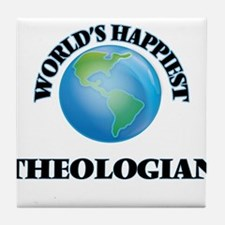 World's Happiest Theologian Tile Coaster