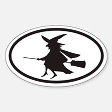 Flying Witch on a Broom Euro Oval Decal