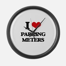 I Love Parking Meters Large Wall Clock