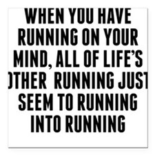 """Running On Your Mind Square Car Magnet 3"""" x 3"""""""