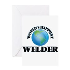 World's Happiest Welder Greeting Cards
