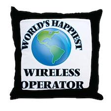 World's Happiest Wireless Operator Throw Pillow