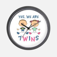 YES WE ARE TWINS Wall Clock