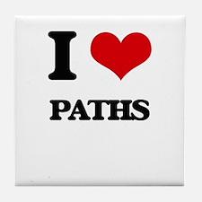 I Love Paths Tile Coaster
