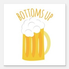 "Bottoms Up Square Car Magnet 3"" x 3"""