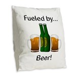 Fueled by Beer Burlap Throw Pillow
