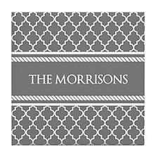 Gray White Moroccan Personalized Tile Coaster