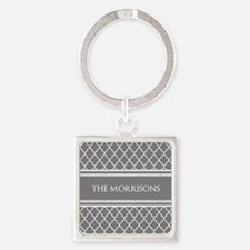 Gray White Moroccan Personalized Square Keychain