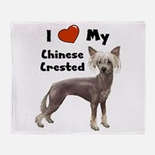 Chinese Crested I Love My Throw Blanket