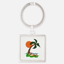 RELAXING UNDER PALM TREE Keychains