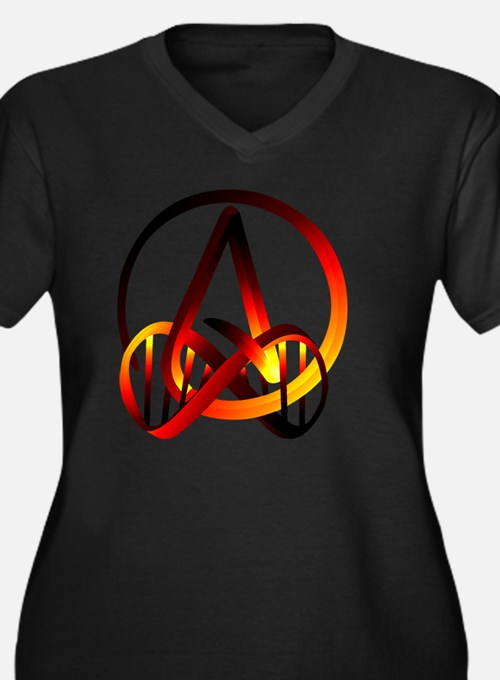 Atheist Fore Women's Plus Size V-Neck Dark T-Shirt