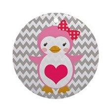 PINK PENQUIN WITH HEART ON CHEVRON Ornament (Round