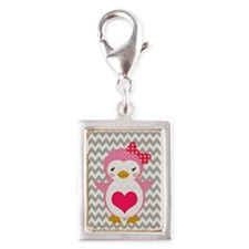 PINK PENQUIN WITH HEART ON CHEVRON Charms