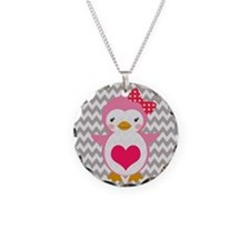 PINK PENQUIN WITH HEART ON CHEVRON Necklace