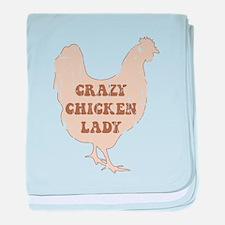 Crazy Chicken Lady baby blanket