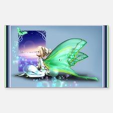 Luna Moth Girl Rectangle Decal