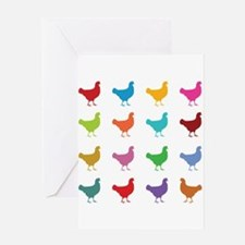 Colorful Chickens Greeting Cards