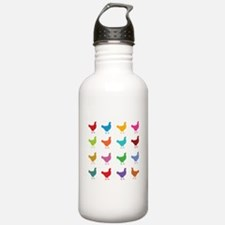 Colorful Chickens Water Bottle