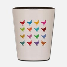 Colorful Chickens Shot Glass