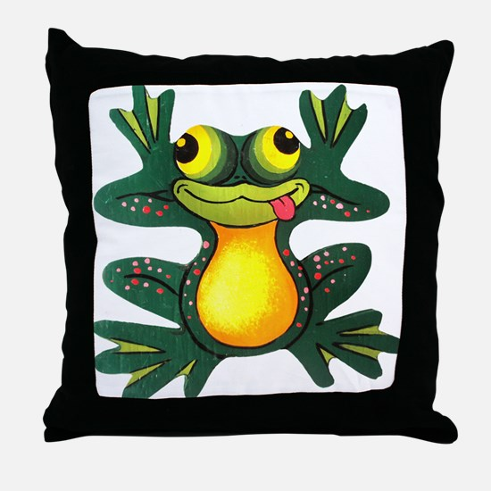 Silly Frog Throw Pillow