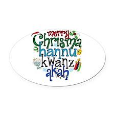 Merry Chrismahannukwanzakah Oval Car Magnet