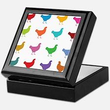 Colorful Chickens Keepsake Box