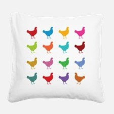 Colorful Chickens Square Canvas Pillow