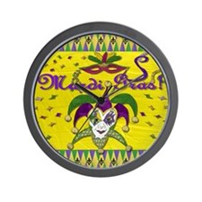 Mardi Gras Jester Mask Wall Clock
