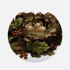 Vintage Birds Nest Eggs and Chris Ornament (Round)