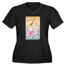 Lotus Dragonfly Art Plus Size T-Shirt