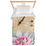 Lotus and dragonfly Duvet Covers